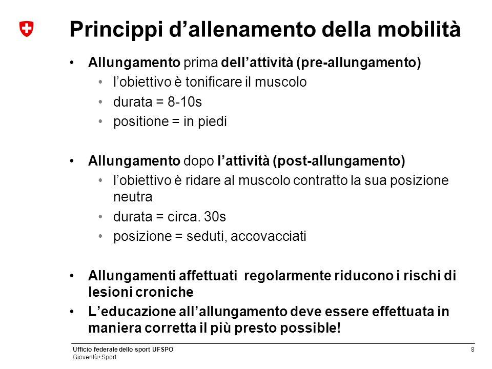 8 Ufficio federale dello sport UFSPO Gioventù+Sport Princippi d'allenamento della mobilità Allungamento prima dell'attività (pre-allungamento) l'obiet