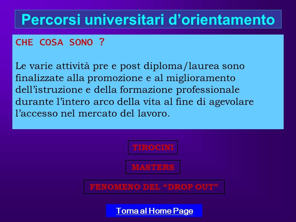 Percorsi universitari d'orientamento Torna al Home Page CHE COSA SONO .
