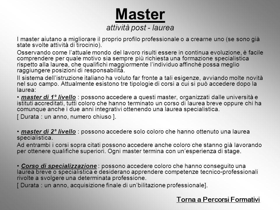 Master attività post - laurea I master aiutano a migliorare il proprio profilo professionale o a crearne uno (se sono già state svolte attività di tirocinio).