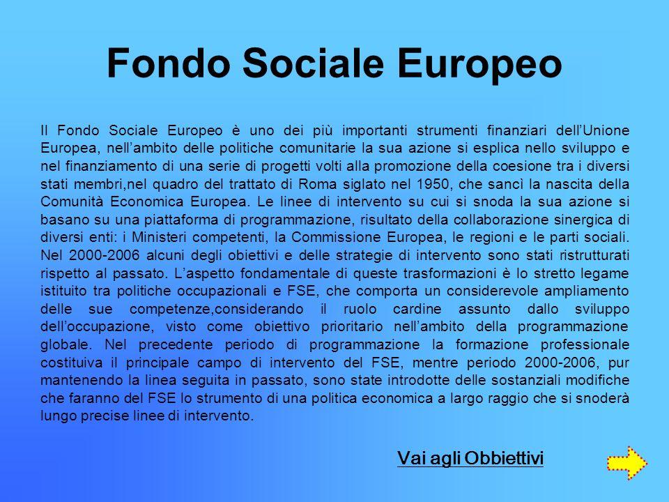 Fondo Sociale Europeo Il Fondo Sociale Europeo è uno dei più importanti strumenti finanziari dell'Unione Europea, nell'ambito delle politiche comunitarie la sua azione si esplica nello sviluppo e nel finanziamento di una serie di progetti volti alla promozione della coesione tra i diversi stati membri,nel quadro del trattato di Roma siglato nel 1950, che sancì la nascita della Comunità Economica Europea.
