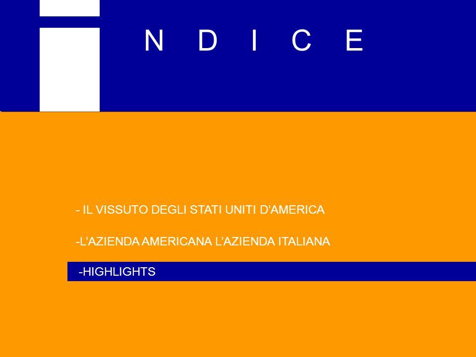 N D I C E - IL VISSUTO DEGLI STATI UNITI D'AMERICA -L'AZIENDA AMERICANA L'AZIENDA ITALIANA -HIGHLIGHTS