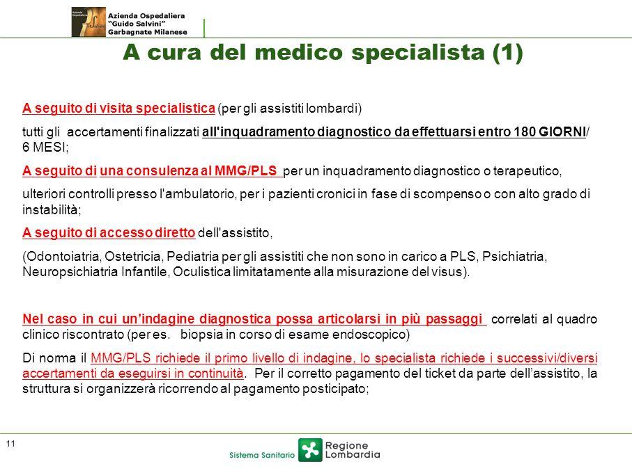 A seguito di visita specialistica (per gli assistiti lombardi) tutti gli accertamenti finalizzati all'inquadramento diagnostico da effettuarsi entro 1