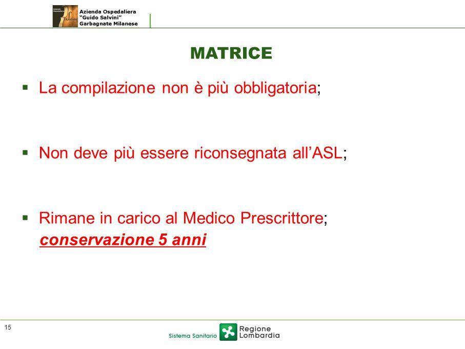 MATRICE  La compilazione non è più obbligatoria;  Non deve più essere riconsegnata all'ASL;  Rimane in carico al Medico Prescrittore; conservazione 5 anni 15