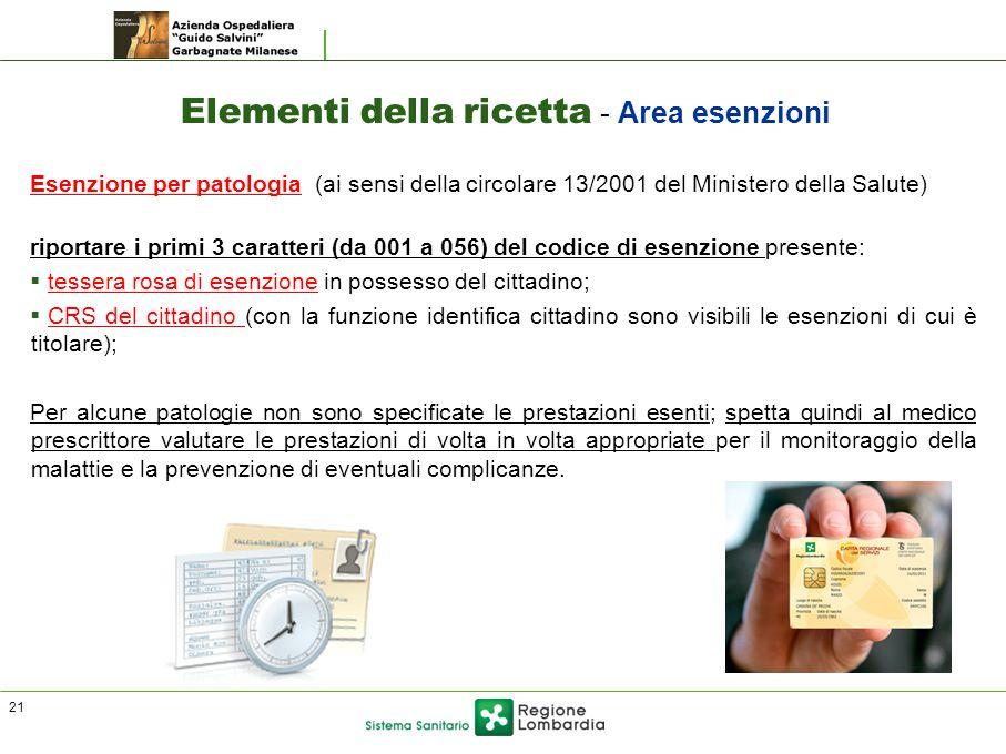 Elementi della ricetta - Area esenzioni Esenzione per patologia (ai sensi della circolare 13/2001 del Ministero della Salute) riportare i primi 3 cara