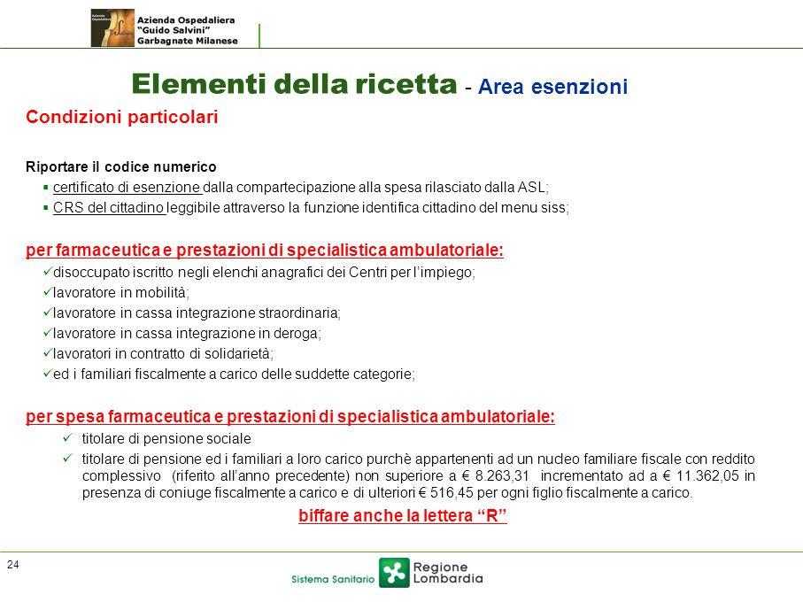Elementi della ricetta - Area esenzioni Condizioni particolari Riportare il codice numerico  certificato di esenzione dalla compartecipazione alla sp