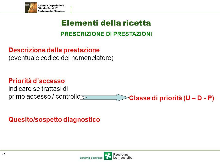 Elementi della ricetta Descrizione della prestazione (eventuale codice del nomenclatore) Priorità d'accesso indicare se trattasi di primo accesso / controllo Quesito/sospetto diagnostico Classe di priorità (U – D - P) PRESCRIZIONE DI PRESTAZIONI 26