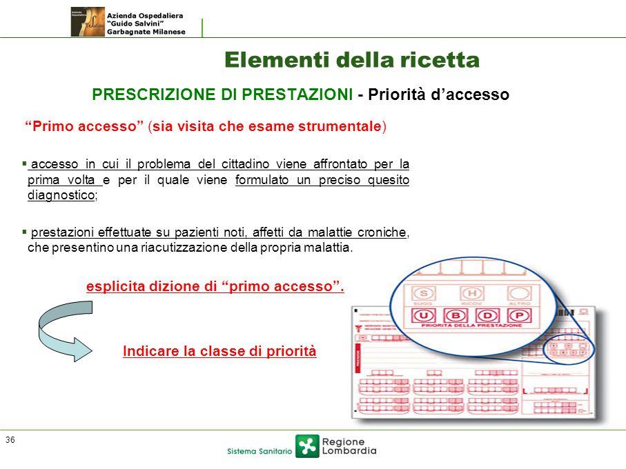 """Elementi della ricetta PRESCRIZIONE DI PRESTAZIONI - Priorità d'accesso """"Primo accesso"""" (sia visita che esame strumentale)  accesso in cui il problem"""