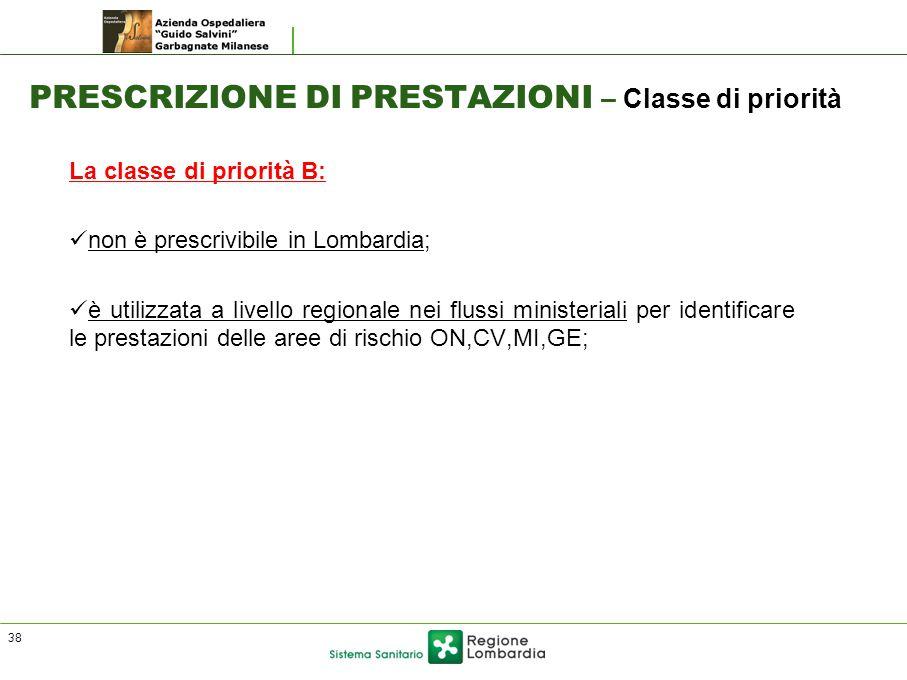 PRESCRIZIONE DI PRESTAZIONI – Classe di priorità La classe di priorità B: non è prescrivibile in Lombardia; è utilizzata a livello regionale nei fluss