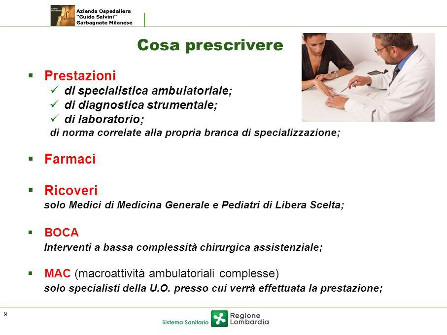 Cosa prescrivere  Prestazioni di specialistica ambulatoriale; di diagnostica strumentale; di laboratorio; di norma correlate alla propria branca di s
