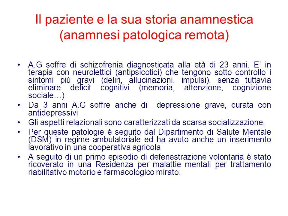 Il paziente e la sua storia anamnestica (anamnesi patologica remota) A.G soffre di schizofrenia diagnosticata alla età di 23 anni. E' in terapia con n