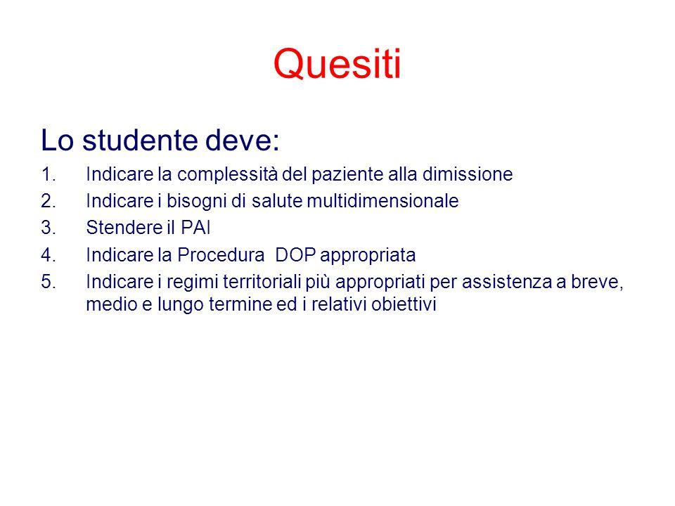 Quesiti Lo studente deve: 1.Indicare la complessità del paziente alla dimissione 2.Indicare i bisogni di salute multidimensionale 3.Stendere il PAI 4.