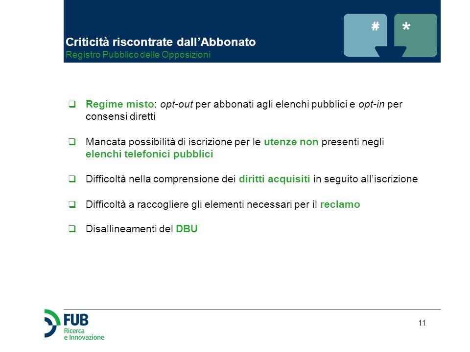 11  Regime misto: opt-out per abbonati agli elenchi pubblici e opt-in per consensi diretti  Mancata possibilità di iscrizione per le utenze non pres