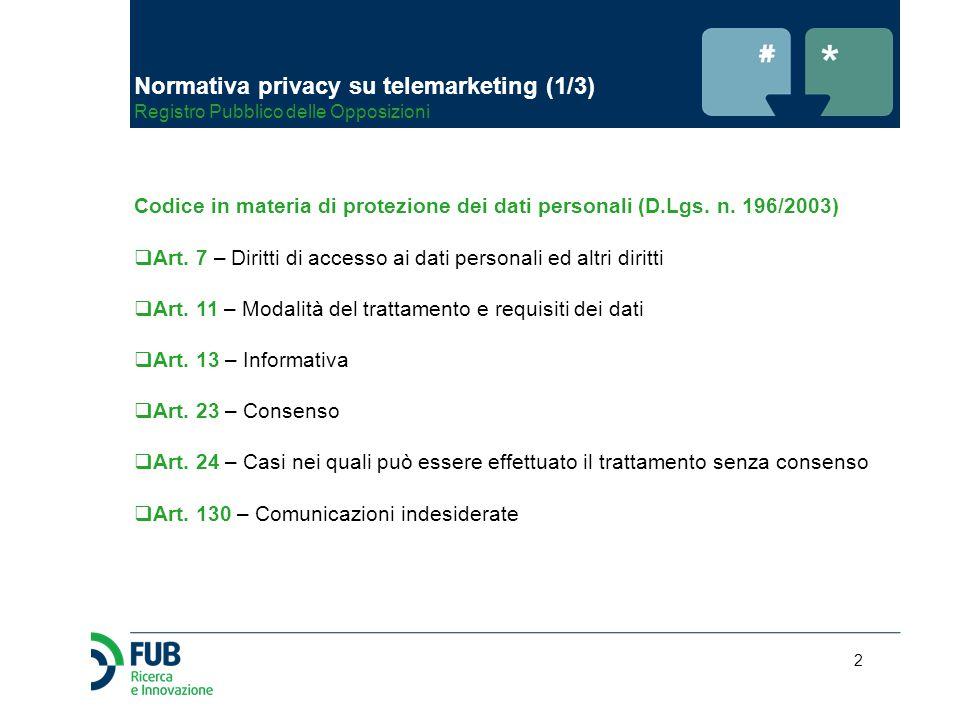 2 Normativa privacy su telemarketing (1/3) Registro Pubblico delle Opposizioni Codice in materia di protezione dei dati personali (D.Lgs. n. 196/2003)
