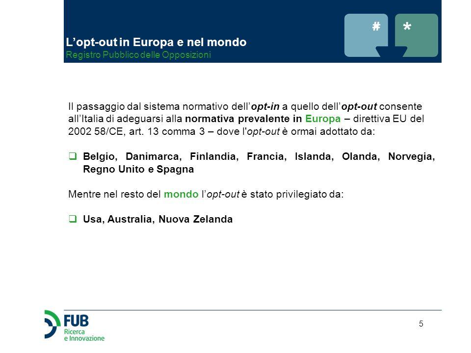 5 Il passaggio dal sistema normativo dell'opt-in a quello dell'opt-out consente all'Italia di adeguarsi alla normativa prevalente in Europa – direttiv