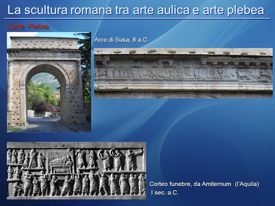 La scultura romana tra arte aulica e arte plebea L'arte Plebea Corteo funebre, da Amiternum (l'Aquila) I sec. a.C. Corteo funebre, da Amiternum (l'Aqu