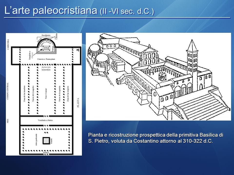 L'arte paleocristiana (II -VI sec. d.C.) Pianta e ricostruzione prospettica della primitiva Basilica di S. Pietro, voluta da Costantino attorno al 310