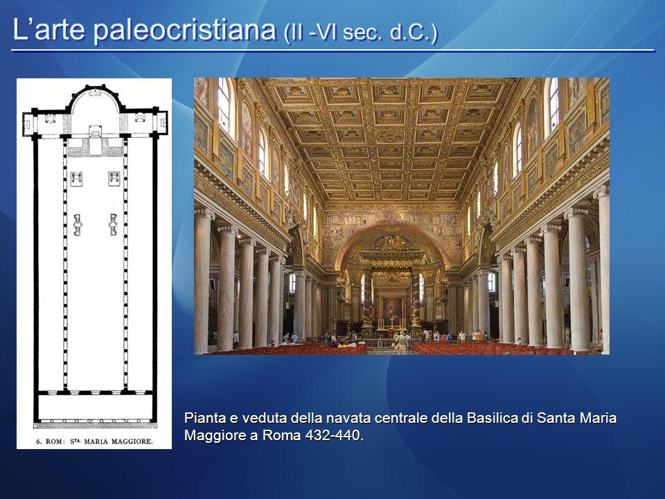 L'arte paleocristiana (II -VI sec. d.C.) Pianta e veduta della navata centrale della Basilica di Santa Maria Maggiore a Roma 432-440.