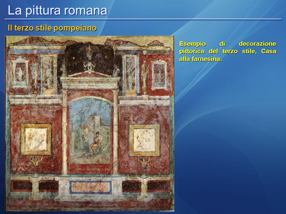 La pittura romana Il quarto stile pompeiano Il quarto stile pompeiano o dell illusionismo prospettico si afferma in età neroniana e si distingue dagli altri per l inserimento di architetture fantastiche (Casa dei Vettii a Pompei e Domus Aurea a Roma).
