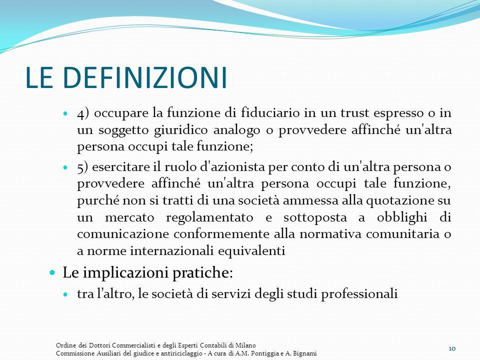 10 LE DEFINIZIONI 4) occupare la funzione di fiduciario in un trust espresso o in un soggetto giuridico analogo o provvedere affinché un'altra persona