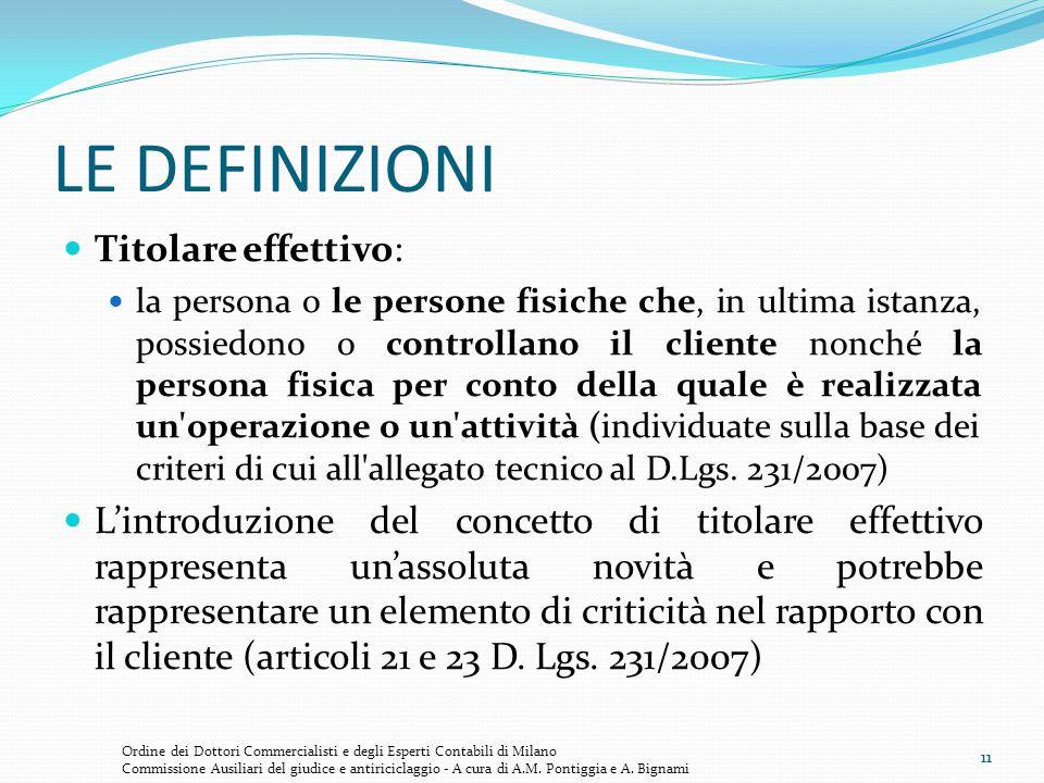 11 LE DEFINIZIONI Titolare effettivo: la persona o le persone fisiche che, in ultima istanza, possiedono o controllano il cliente nonché la persona fi