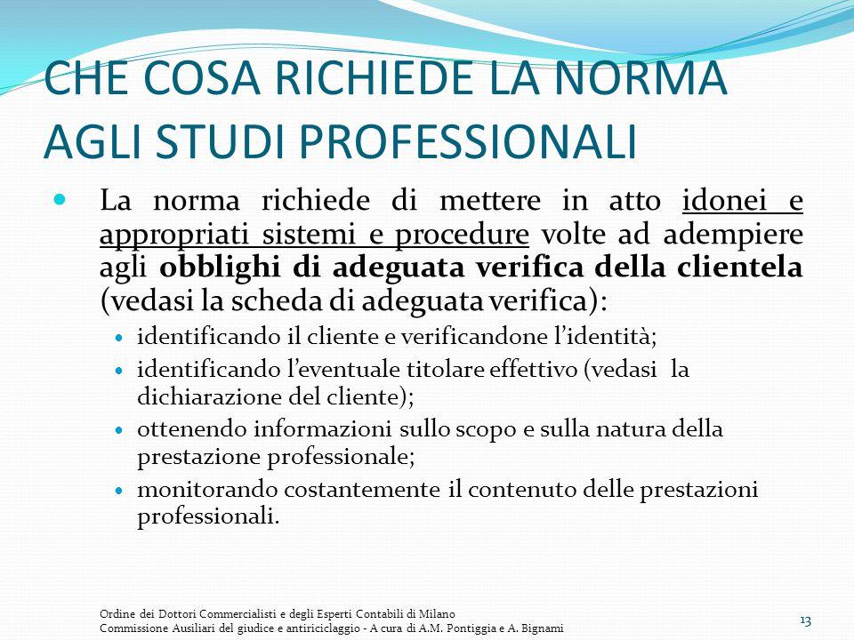13 CHE COSA RICHIEDE LA NORMA AGLI STUDI PROFESSIONALI La norma richiede di mettere in atto idonei e appropriati sistemi e procedure volte ad adempier