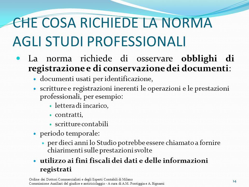 14 CHE COSA RICHIEDE LA NORMA AGLI STUDI PROFESSIONALI La norma richiede di osservare obblighi di registrazione e di conservazione dei documenti: docu