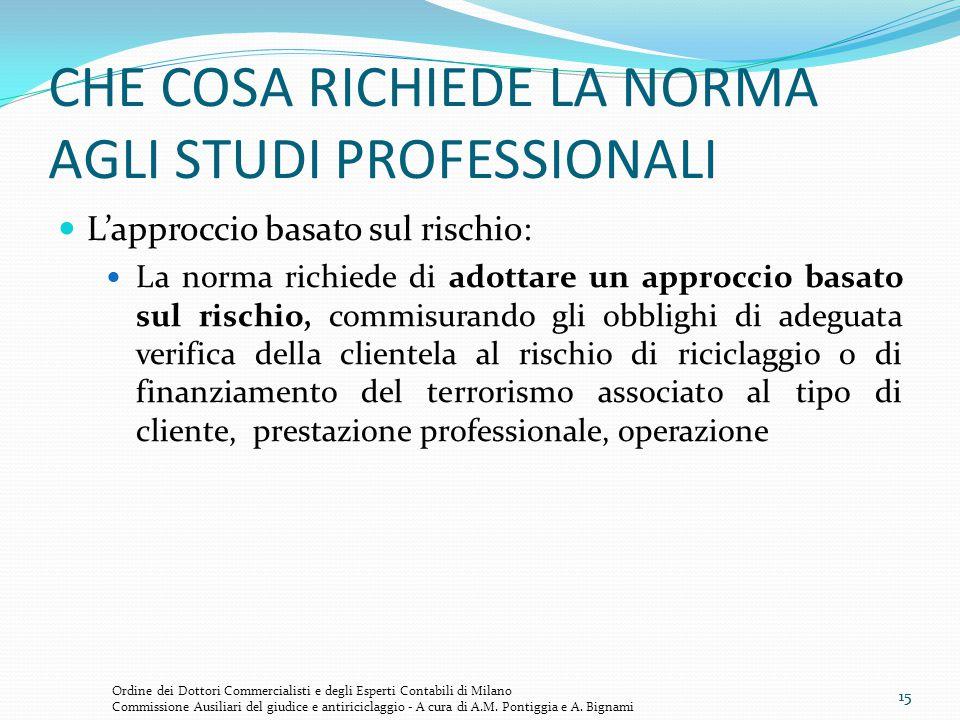 15 CHE COSA RICHIEDE LA NORMA AGLI STUDI PROFESSIONALI L'approccio basato sul rischio: La norma richiede di adottare un approccio basato sul rischio,