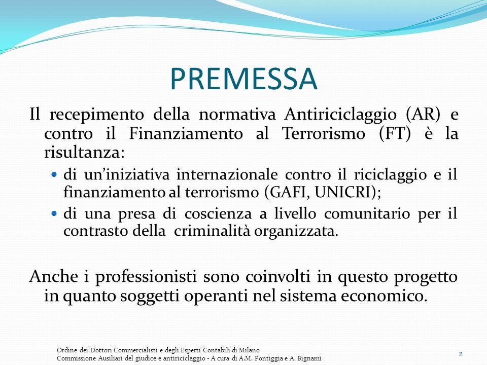 2 PREMESSA Il recepimento della normativa Antiriciclaggio (AR) e contro il Finanziamento al Terrorismo (FT) è la risultanza: di un'iniziativa internaz