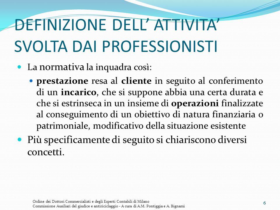 7 LE DEFINIZIONI Il Cliente: il soggetto al quale il professionista rende una prestazione in seguito al conferimento di un incarico.