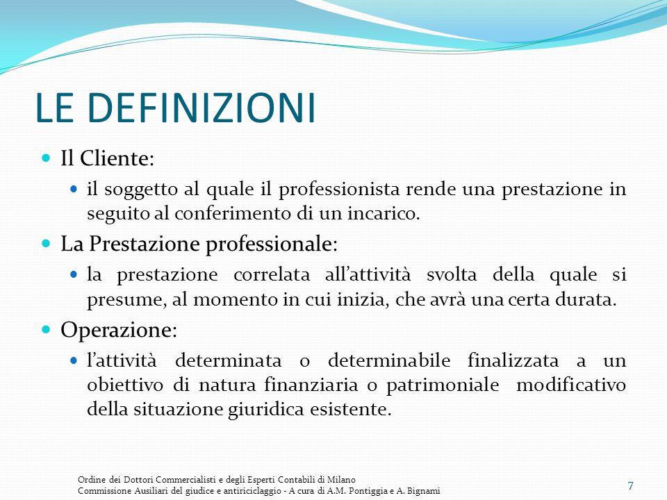 7 LE DEFINIZIONI Il Cliente: il soggetto al quale il professionista rende una prestazione in seguito al conferimento di un incarico. La Prestazione pr