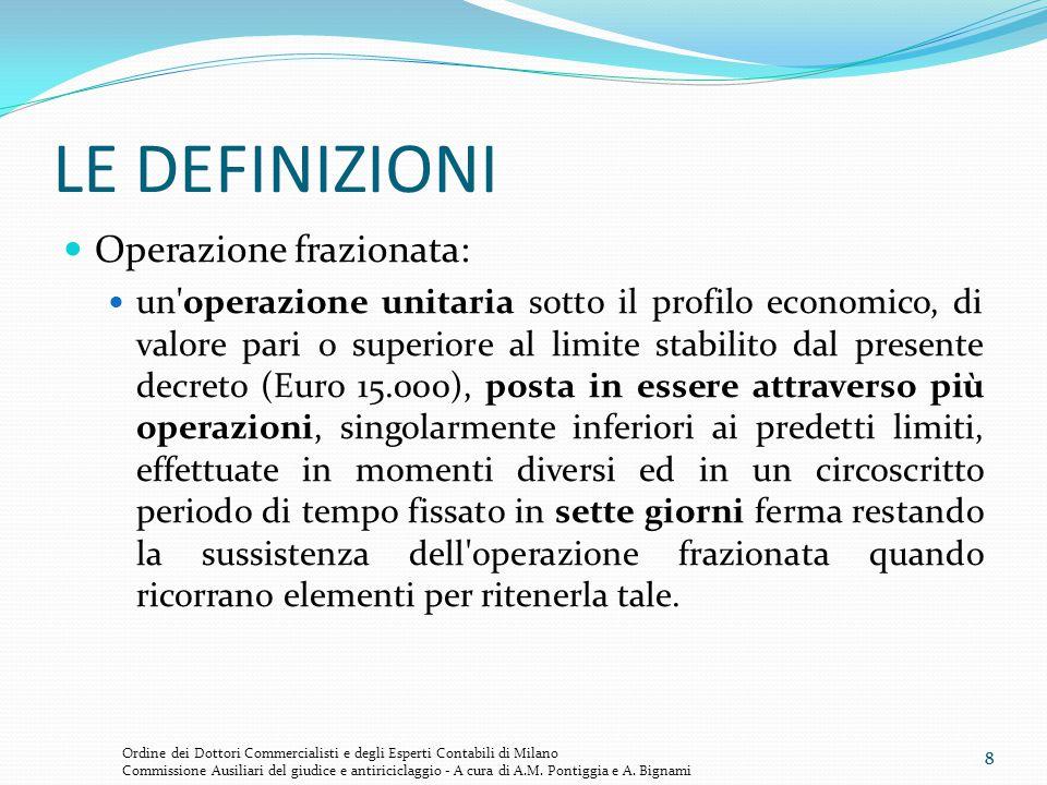 8 LE DEFINIZIONI Operazione frazionata: un'operazione unitaria sotto il profilo economico, di valore pari o superiore al limite stabilito dal presente