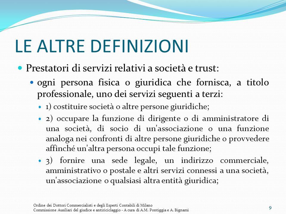 9 LE ALTRE DEFINIZIONI Prestatori di servizi relativi a società e trust: ogni persona fisica o giuridica che fornisca, a titolo professionale, uno dei