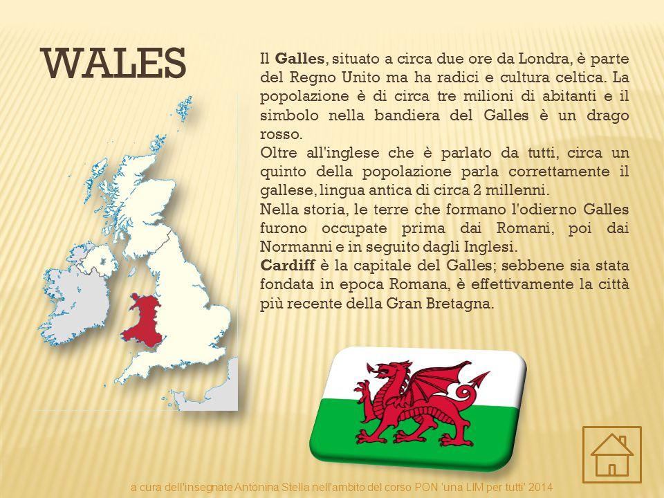 WALES Il Galles, situato a circa due ore da Londra, è parte del Regno Unito ma ha radici e cultura celtica. La popolazione è di circa tre milioni di a