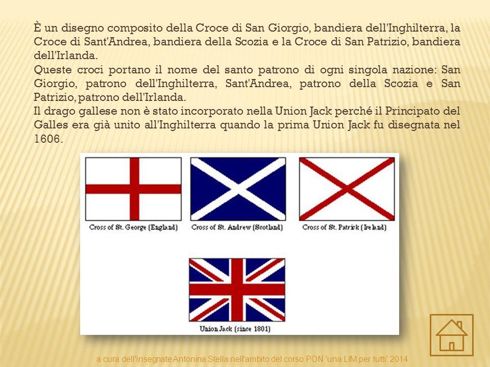 È un disegno composito della Croce di San Giorgio, bandiera dell'Inghilterra, la Croce di Sant'Andrea, bandiera della Scozia e la Croce di San Patrizi