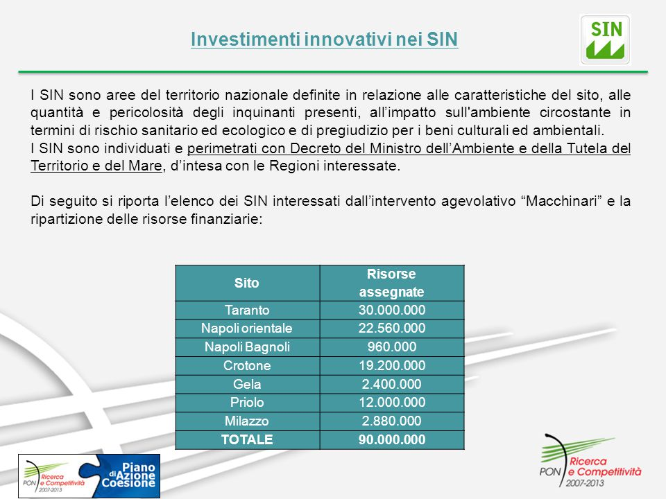 Investimenti innovativi nei SIN I SIN sono aree del territorio nazionale definite in relazione alle caratteristiche del sito, alle quantità e pericolo