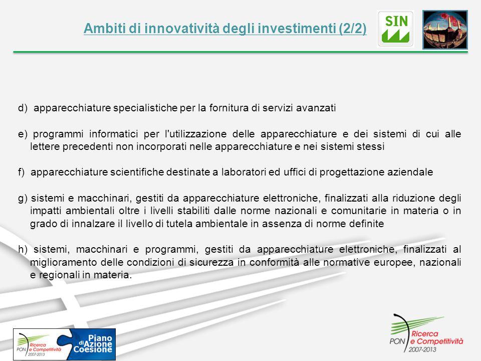 Ambiti di innovatività degli investimenti (2/2) d) apparecchiature specialistiche per la fornitura di servizi avanzati e) programmi informatici per l'