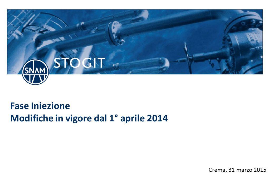 stogit.it Fase Iniezione Modifiche in vigore dal 1° aprile 2014 Crema, 31 marzo 2015
