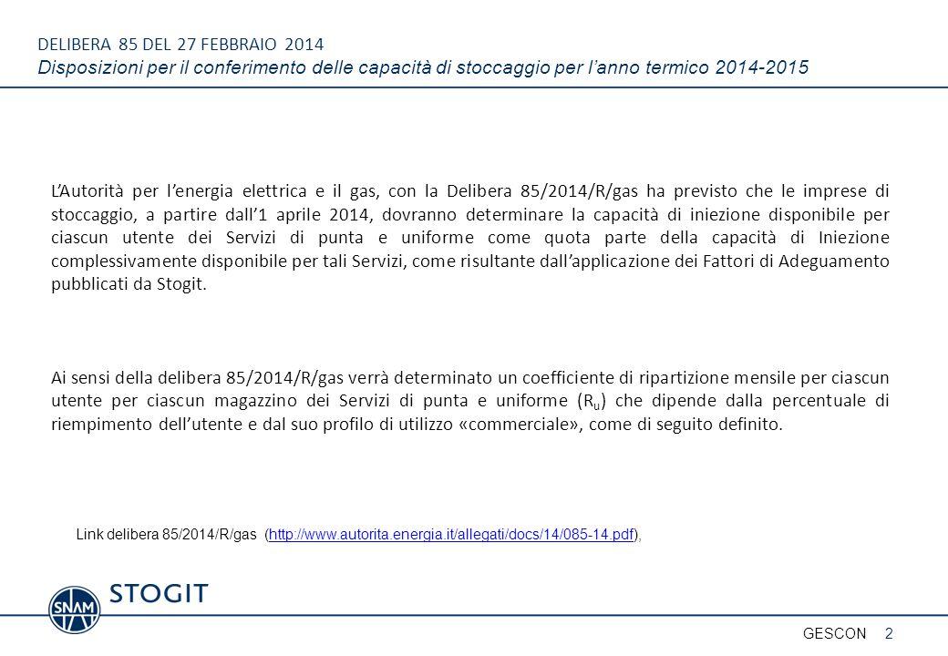 DELIBERA 85 DEL 27 FEBBRAIO 2014 Pubblicazioni riguardanti la fase di Iniezione 3GESCON http://www.stogit.it/repository/business_servizi/Comunicazioni_ope rative/Profili_utilizzo_fattori_adeguamento/Fattori_adeguamento_e _Profili_utilizzo_2014_03_10-_INIEZIONE.pdf I fattori di adeguamento verranno applicati alla capacità complessivamente offerta per il conferimento per i Servizi di punta e uniforme I profili di utilizzo di sistema sono applicati allo spazio complessivamente offerto per i Servizi di punta e uniforme