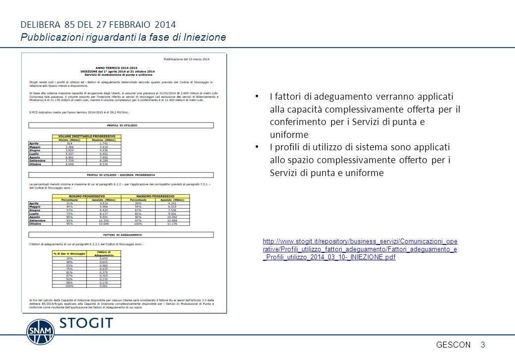 DELIBERA 85 DEL 27 FEBBRAIO 2014 Pubblicazioni riguardanti la fase di Iniezione 3GESCON http://www.stogit.it/repository/business_servizi/Comunicazioni