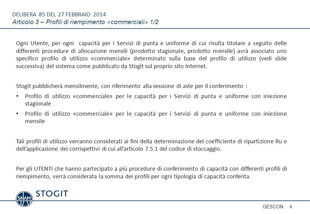DELIBERA 85 DEL 27 FEBBRAIO 2014 Articolo 3 – Profili di riempimento «commerciali» 1/2 Ogni Utente, per ogni capacità per i Servizi di punta e uniform