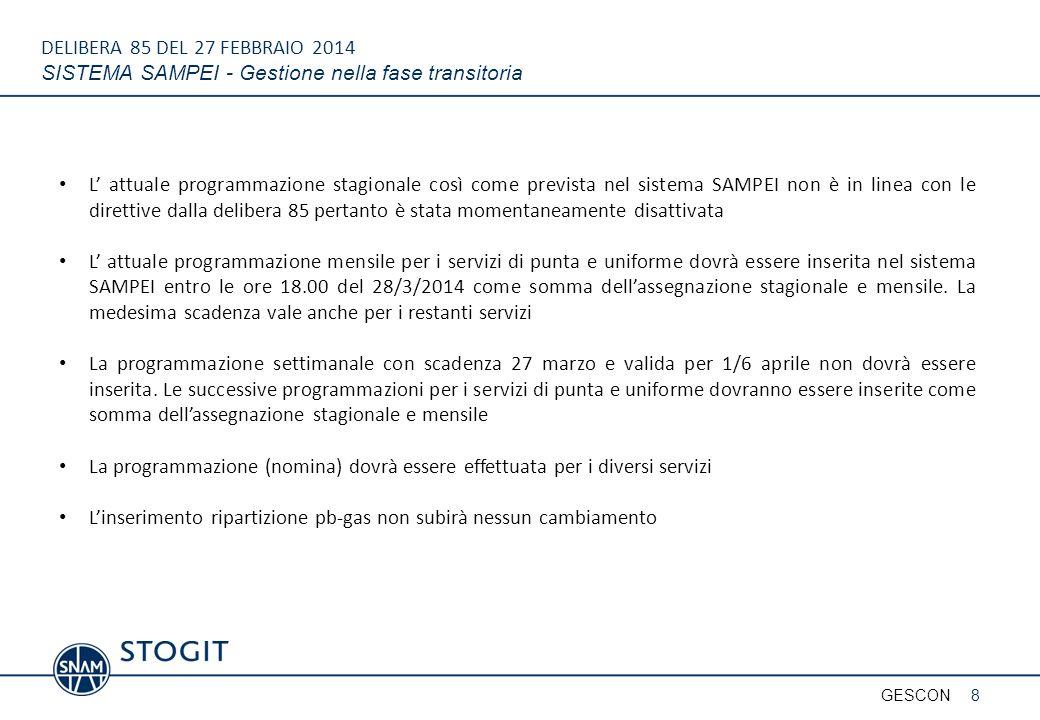DELIBERA 85 DEL 27 FEBBRAIO 2014 SISTEMA SAMPEI - Gestione nella fase transitoria 8GESCON L' attuale programmazione stagionale così come prevista nel
