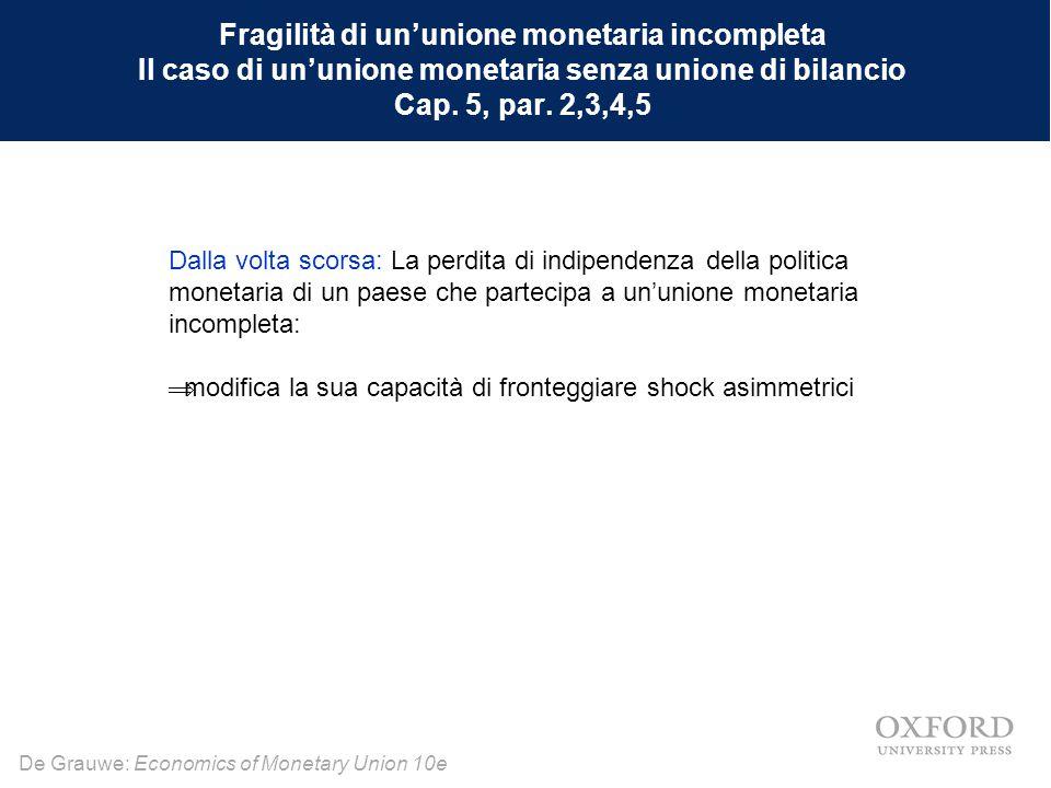 De Grauwe: Economics of Monetary Union 10e Nella zona euro i governi nazionali emettono debito nella moneta comune.