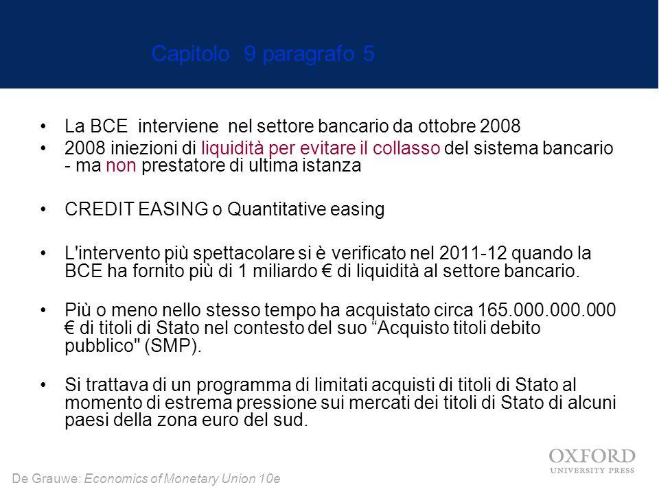 De Grauwe: Economics of Monetary Union 10e La BCE interviene nel settore bancario da ottobre 2008 2008 iniezioni di liquidità per evitare il collasso