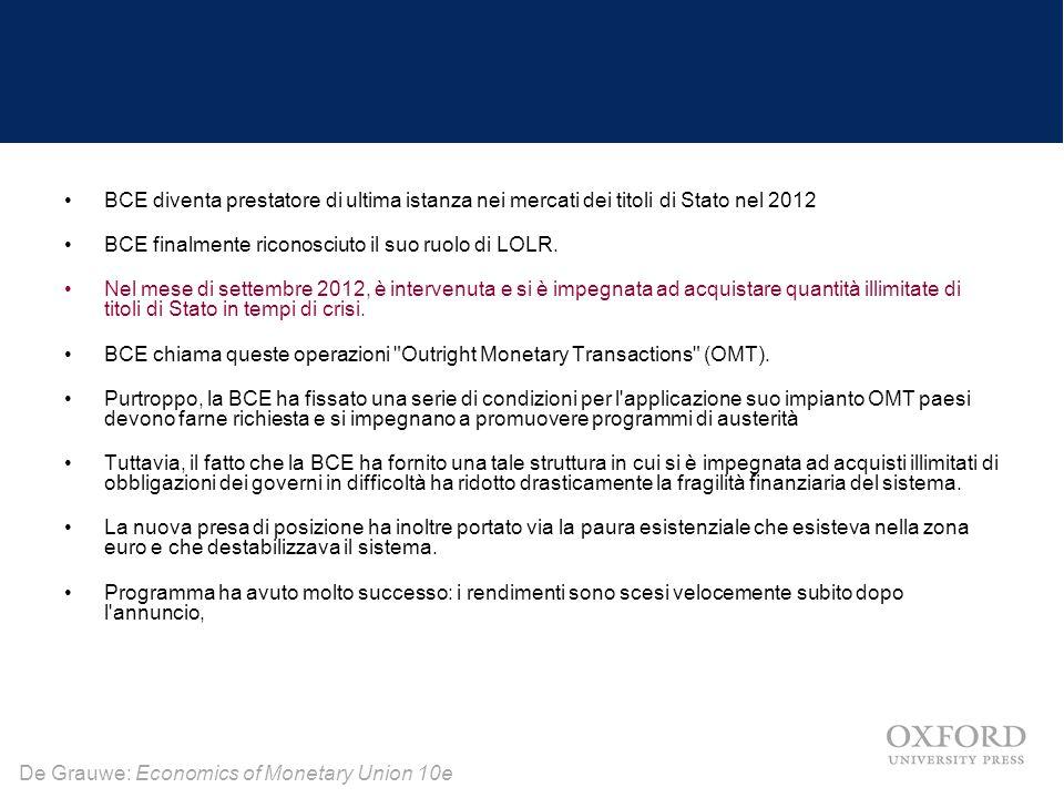 De Grauwe: Economics of Monetary Union 10e BCE diventa prestatore di ultima istanza nei mercati dei titoli di Stato nel 2012 BCE finalmente riconosciu