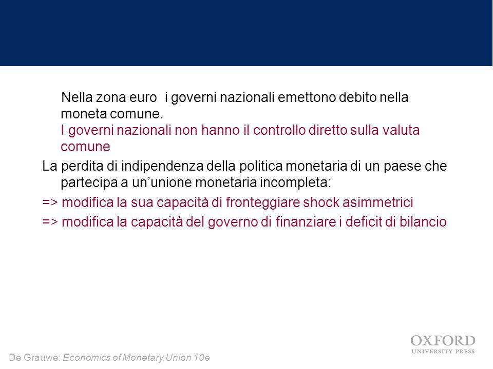 De Grauwe: Economics of Monetary Union 10e Nella zona euro i governi nazionali emettono debito nella moneta comune. I governi nazionali non hanno il c