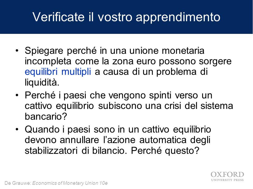 De Grauwe: Economics of Monetary Union 10e Verificate il vostro apprendimento Spiegare perché in una unione monetaria incompleta come la zona euro pos