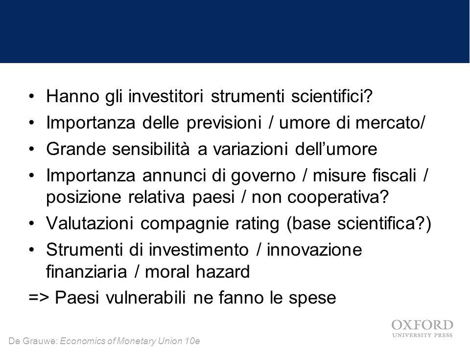 De Grauwe: Economics of Monetary Union 10e Hanno gli investitori strumenti scientifici? Importanza delle previsioni / umore di mercato/ Grande sensibi