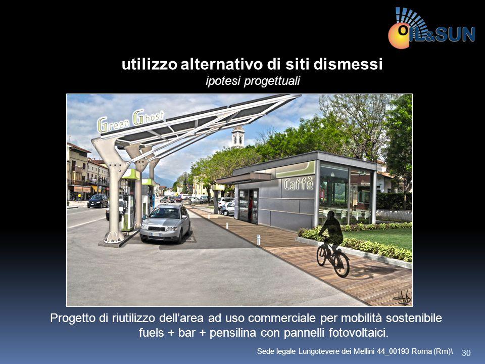 Progetto di riutilizzo dell'area ad uso commerciale per mobilità sostenibile fuels + bar + pensilina con pannelli fotovoltaici. utilizzo alternativo d