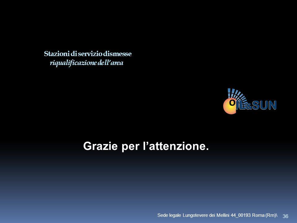 Grazie per l'attenzione. Stazioni di servizio dismesse riqualificazione dell'area 36 Sede legale Lungotevere dei Mellini 44_00193 Roma (Rm)\
