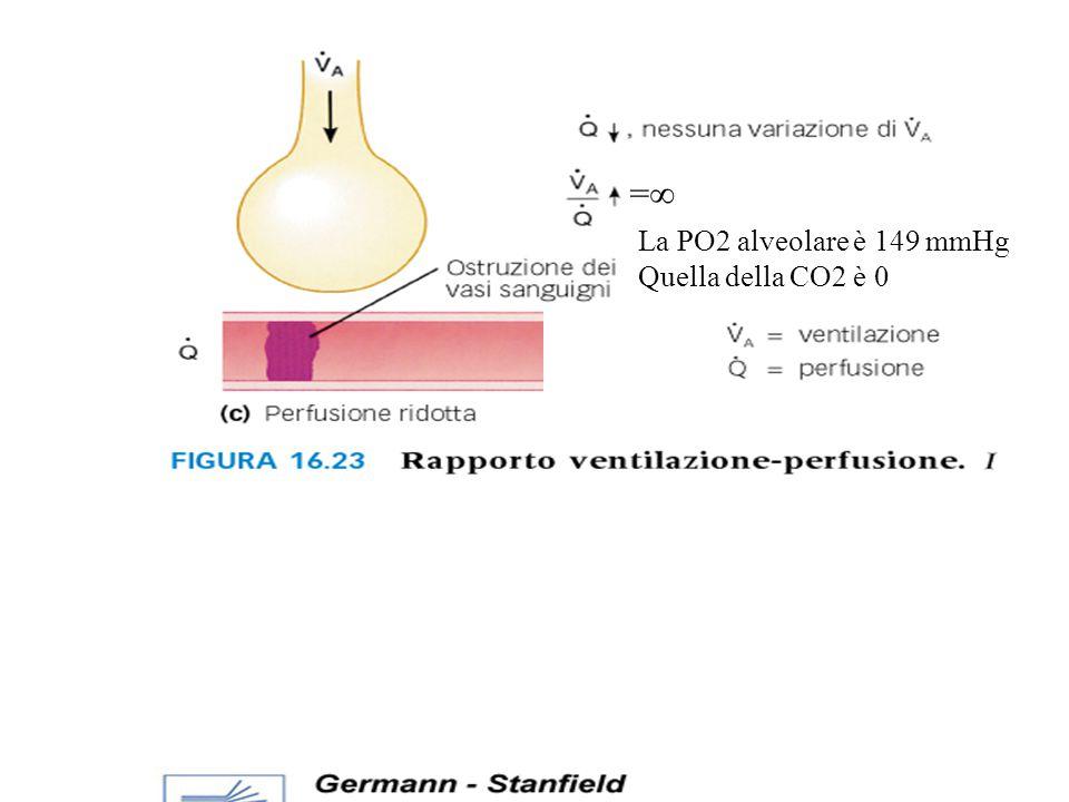 La PO2 alveolare è 149 mmHg Quella della CO2 è 0 ==